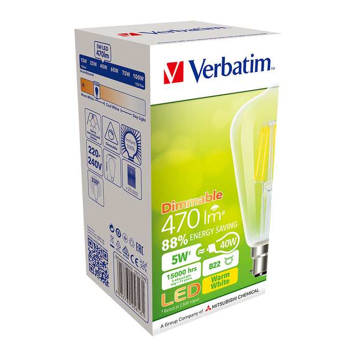 VERBATIM Filament LED ST-64 4.5W Clear Dome Dimmable Globes E27 | B22 - TheLightGuys