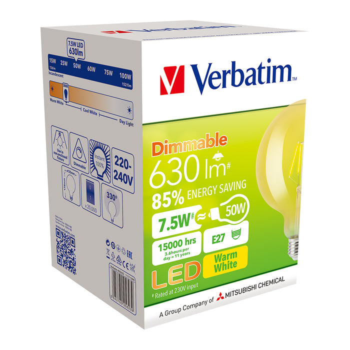 VERBATIM Filament LED G125 Grand Classic 7W Amber Dome Dimmable Globes 2400K E27 | B22 - TheLightGuys