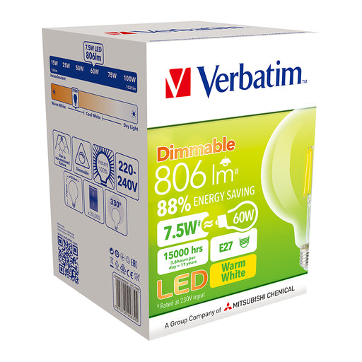 VERBATIM Filament LED G125 Grand Classic 7W Clear Dome Dimmable Globes 2700K E27 | B22 - TheLightGuys