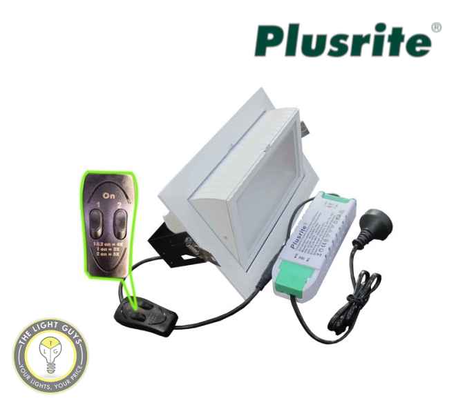 PLUSRITE Rectangular Shop Lighter White 40W | 50W Tri Colour Dimmable - TheLightGuys