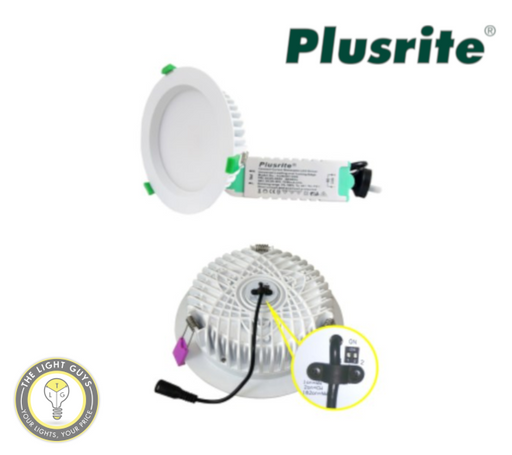 PLUSRITE LED Downlight 20W | 30W | 40W Tri Colour 3K/4K/5K 163mmØ | 193mmØ Dimmable - TheLightGuys