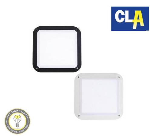 CLA LED Exterior Bulkhead Lights AC 12W 240V Square Black | White - TheLightGuys