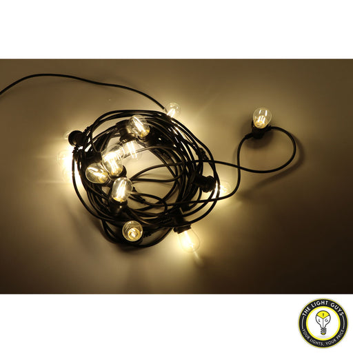 Commercial Grade 15 Meter/15 Lamp Extendable Festoon lighting IP65 3000K | 6500K WHITE | BLACK - TheLightGuys
