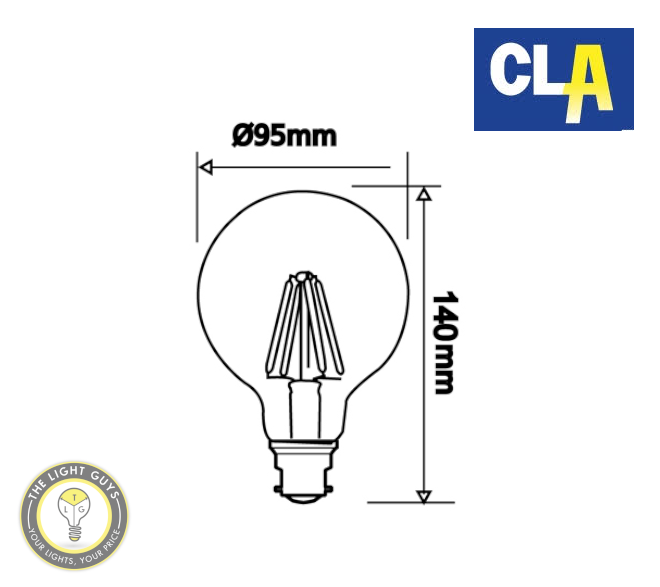 CLA LED Filament Dimmable Globe G95 6W 260V BC | ES | 2700K | 6000K - TheLightGuys