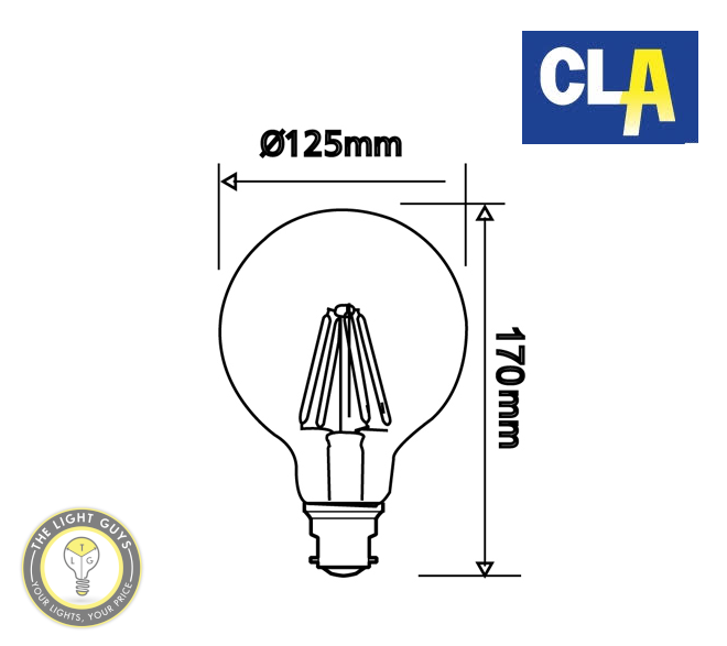 CLA LED Filament Dimmable Globe G125 8W 260V BC | ES | 2700K | 6000K - TheLightGuys