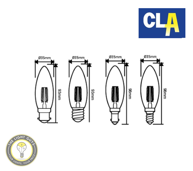 CLA LED Filament Dimmable Globe Candle 4W 260V 2700K BC | ES | SBC | SES - TheLightGuys