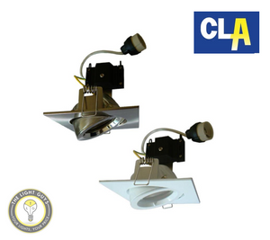 CLA Downlight Fitting GU10 Gimbal Square 90mm White | Satin Chrome - TheLightGuys