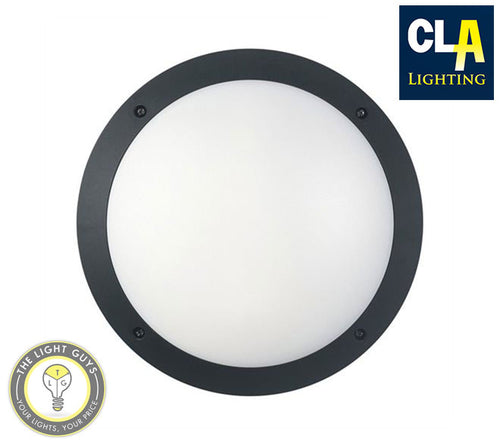 CLA LED Round Bulkhead 12w 240v 4000k IP66 IK10 Black | White - TheLightGuys