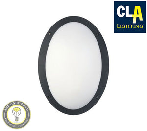 CLA LED Oval Bulkhead 12w 240v 4000k IP66 IK10 Black | White - TheLightGuys
