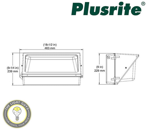 PLUSRITE LED Wall Pack Light 60W 100-277V 5000K - TheLightGuys