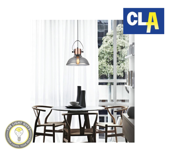 CLA Copper Plate with Smoke Glass Flat Top Dome Pendant Light (Globe not included) - TheLightGuys