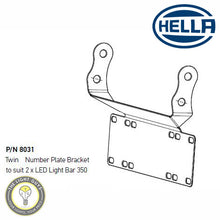 HELLA LED Light Bar Licence Plate Bracket SINGLE | TWIN BAR 350 | 450MM LENGTHS - TheLightGuys