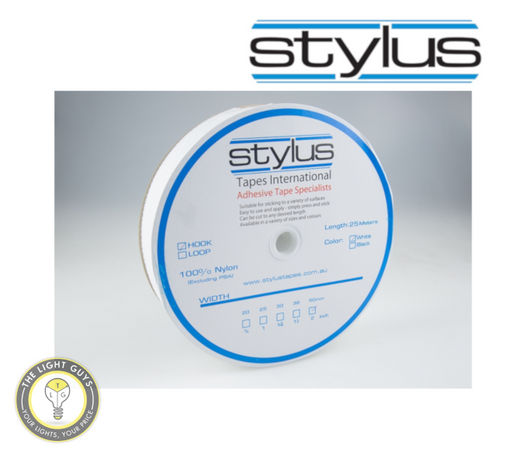 STYLUS 3421 50mm x 25M Hook tape (Adhesive backed) White - TheLightGuys