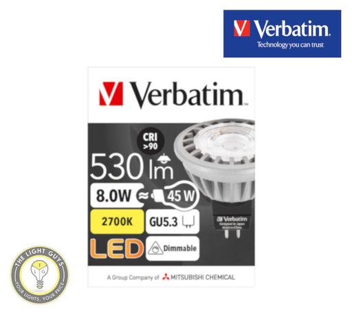 VERBATIM MR16 HIGH CRI90 GU5.3 8W 12V 2700K | 3000K | 4000K Dimmable 35deg° - TheLightGuys