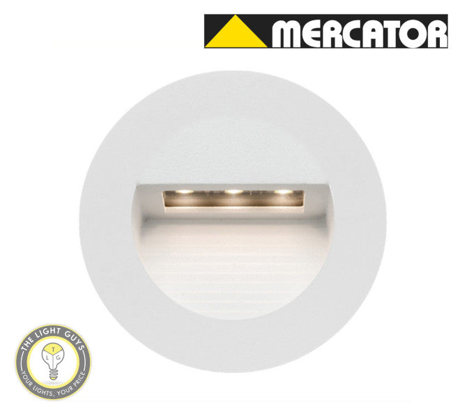 MERCATOR LED RYE 1.2W 240V Round Step Light Black | White - TheLightGuys