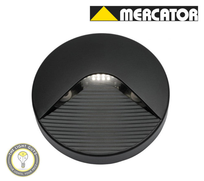 MERCATOR Justin 2W 110lm 4000K Round Step Light White | Black - TheLightGuys