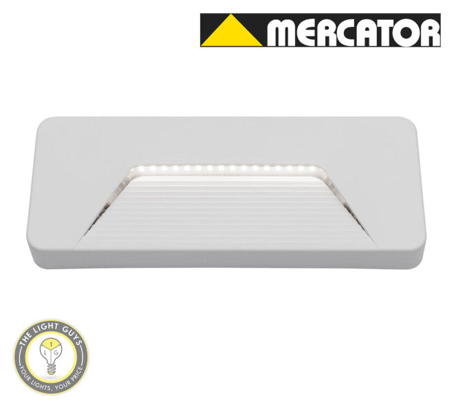 MERCATOR Justin 3W 170lm 4000K Rectangle Step Light White | Black - TheLightGuys