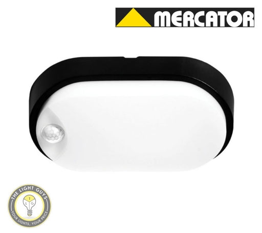 MERCATOR SENSORED LED Fletcher 10W White & Black Frame Oval | Round - TheLightGuys