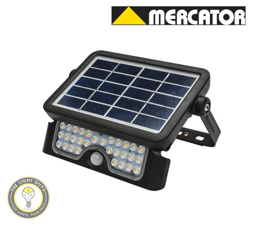 MERCATOR Defender Multifunctional Solar LED Flood Light 5W with PIR Sensor - TheLightGuys