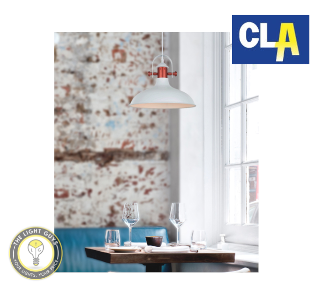 CLA Dome with Copper Plating Pendant Lights White | Grey (Globe not included) - TheLightGuys