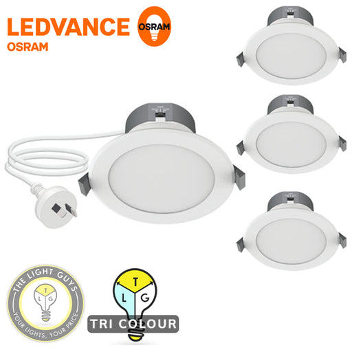 4-PACK SMALL BEDROOM KIT LEDVANCE LED Tri Colour Downlight 8W 240V Flex & Plug - TheLightGuys