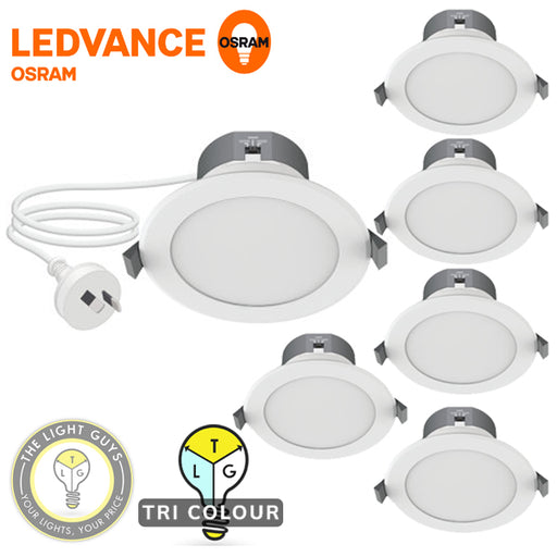 6-PACK LARGE BEDROOM KIT LEDVANCE LED Tri Colour Downlight 8W 240V Flex & Plug - TheLightGuys