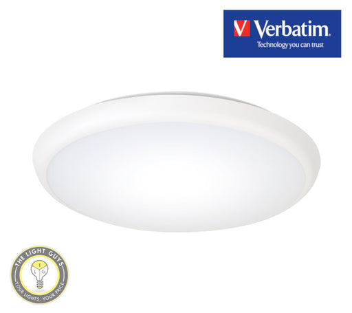 VERBATIM LED Oyster 300mmØ 18W 240V Tri Colour 3K/4K/5.7K IP54 Dimmable - TheLightGuys