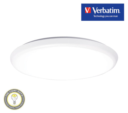 VERBATIM LED Oyster 400mmØ 30W 240V Tri Colour 3K/4K/5.7K IP54 Dimmable - TheLightGuys