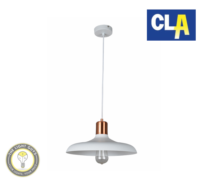 CLA Dome Shape with Copper Lampholder Cover Pendant Lights Black | White | Grey (Globe not included) - TheLightGuys
