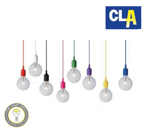 CLA Pendant Lights E27 max. 60W Red | White | Black | Pink | Green | Purple | Yellow | Blue - TheLightGuys