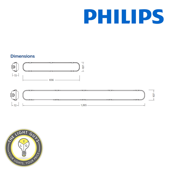 Philips SmartBright Outdoor Weatherproof LED Batten Tri Colour & Dual Power 20W (600mm) | 40W (1200mm) - TheLightGuys
