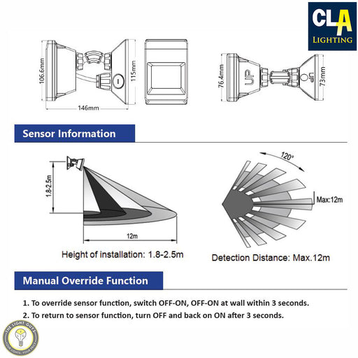 CLA Adjustable 120 IP66 Infrared Motion Sensor - TheLightGuys