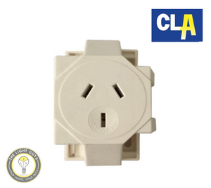 CLA Socket Quick Connect Single Surface 3 Pin Plug base 10Amp - TheLightGuys