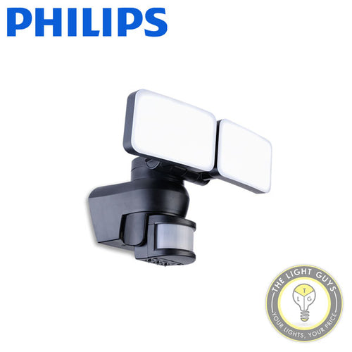 PHILIPS Smart Bright LED Security Light 2x15w 240v 4000k BLACK IP54 IK05 - TheLightGuys