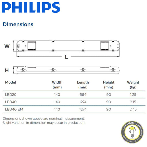 PHILIPS SmartBright Wide Batten 220-240V IP65 4K | 6.5K | 600mm | 1200mm | 1200mm Emergency - TheLightGuys