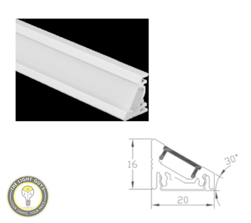 TLG Display / Underbench Corner LED Channel 30° angled per 3 Meter lengths - TheLightGuys
