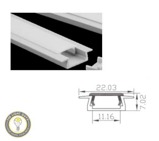 TLG Recessed Low Profile (7mm Depth)  LED Channel per 3 Meter Lengths - TheLightGuys