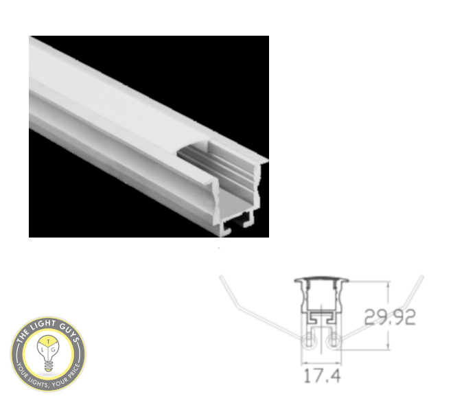 TLG Small Recessed/Ceiling Mount LED Channel with Clips per 3 Meter Lengths - TheLightGuys