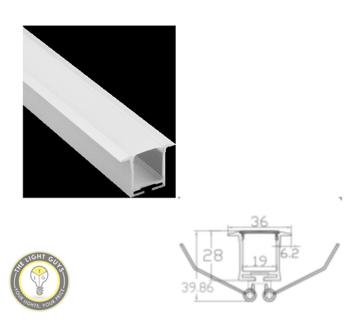 TLG Large Recessed/Ceiling Mount LED Channel with Clips per 2 Meter Lengths - TheLightGuys