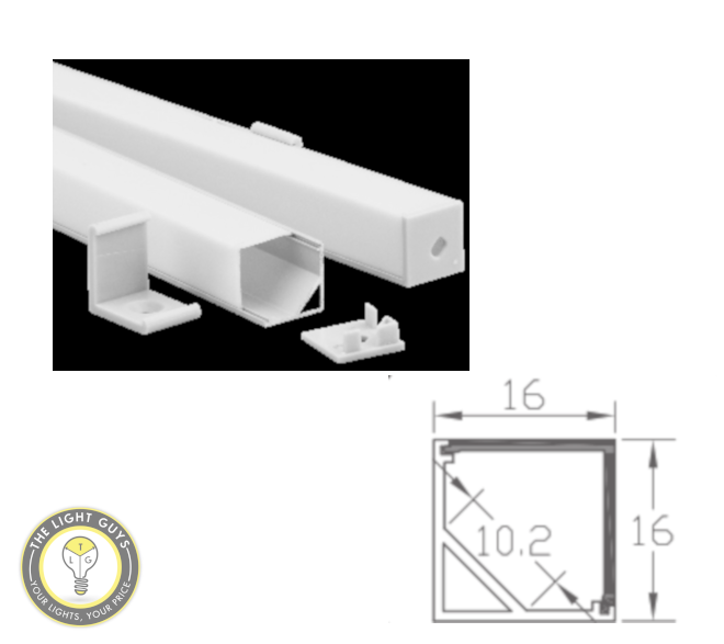 TLG Small Wall Corner LED Channel per 3 Meter Lengths - TheLightGuys