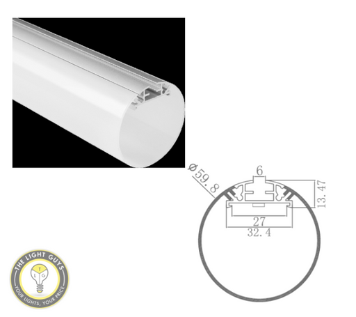TLG LED Cylinder/Round Channel per 2 Meters Lengths - TheLightGuys