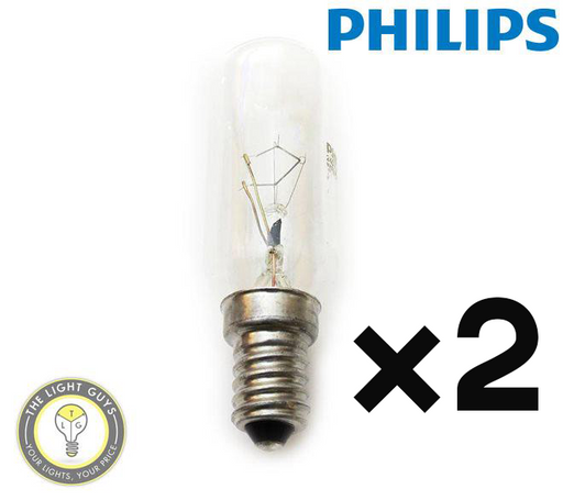 2-Pack PHILIPS Tubular Rangehood Lamp T25 40W 240V SES