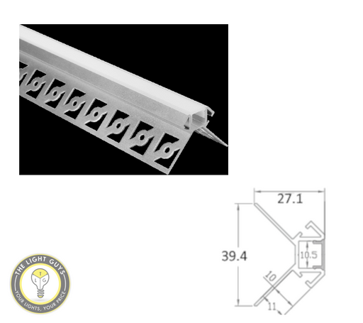 TLG Gyprock Extruded Corner LED Channel per 2 Meter Lengths - TheLightGuys