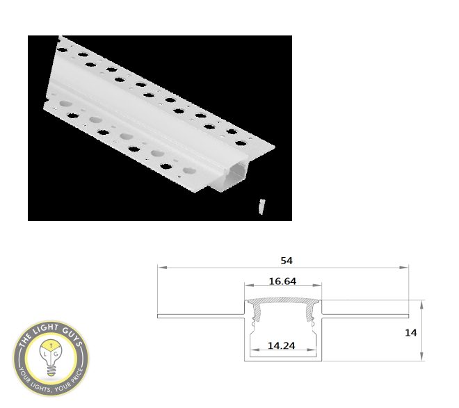TLG Gyprock Surface Recessed LED Channel per 2 Meter Lengths - TheLightGuys