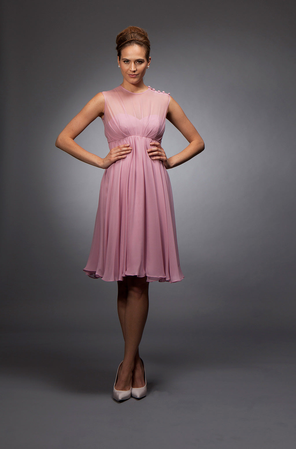 Alyce - Pink chiffon cocktail dress