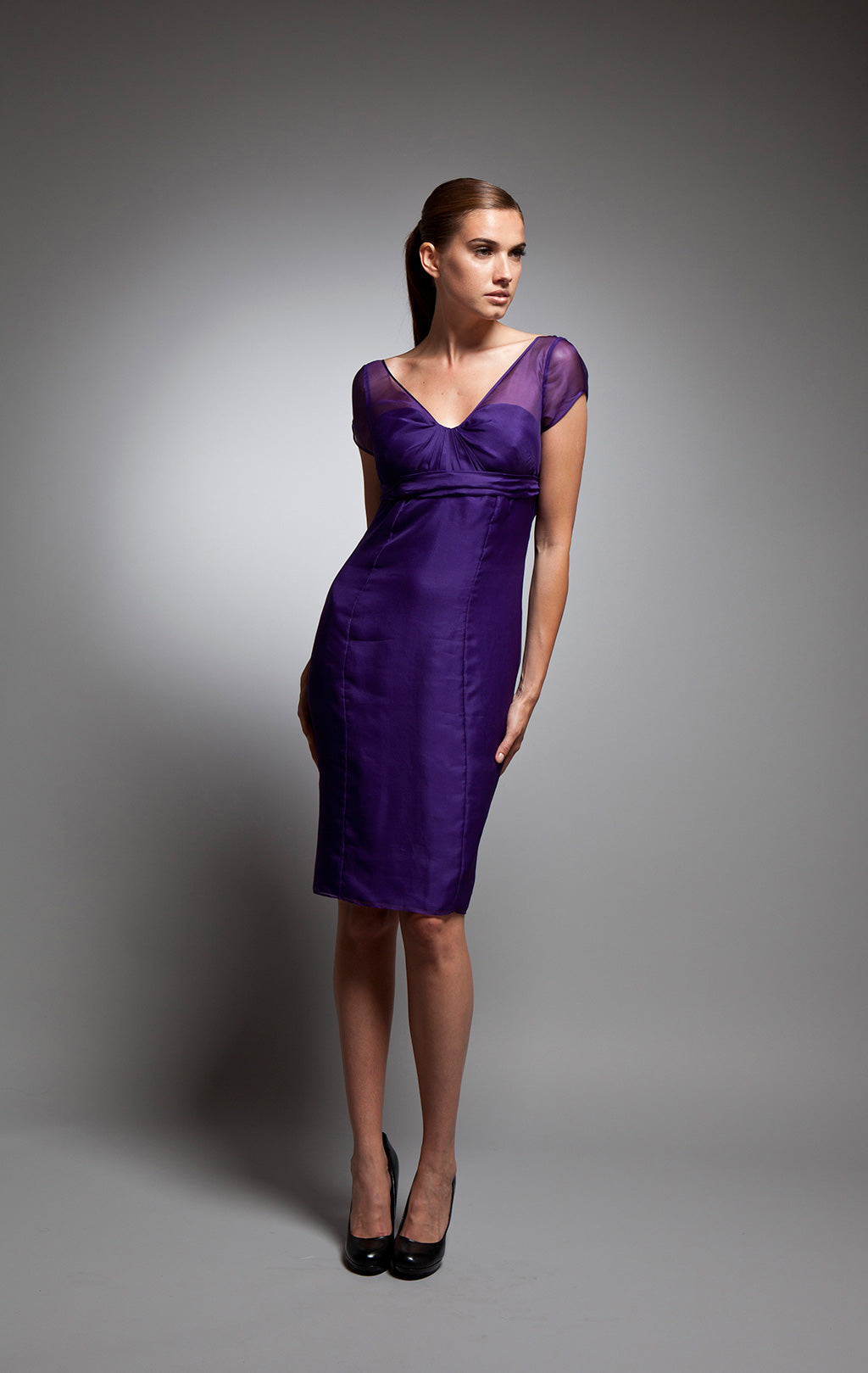 Caterina - Vivid purple silk organza v-neck dress
