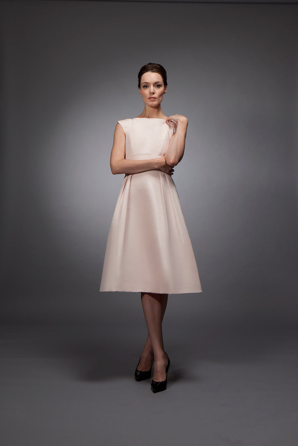 Melanie - Pale pink silk gazar cocktail dress