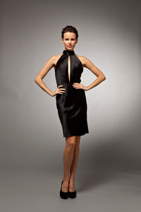 Lisette - Black crepe-back satin bias cocktail dress