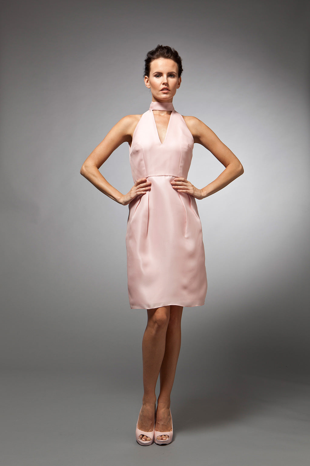 Josette - Pink silk gazar cocktail dress
