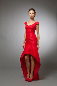 Veronique - Red silk gazar gown